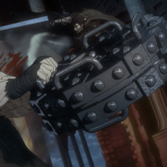 Guts deflects Angel Face's breaking wheel with his cannon.