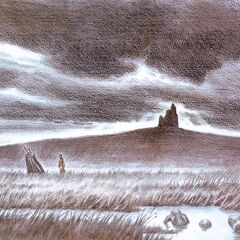 Guts and Casca travel through an empty field.