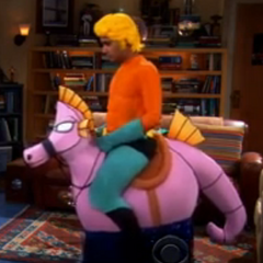 Raj as Aquaman riding his seahorse.
