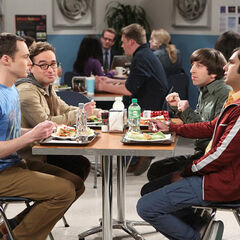 Sheldon complaining about the physics symposium he wasn't invited to.