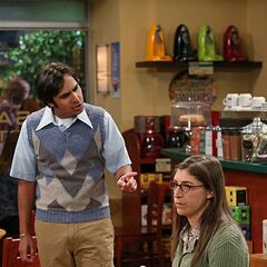 Raj interrupting Amy's coffee date trying to not be passive.