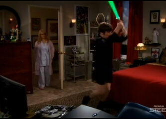 Howard plays with laser sword
