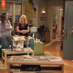 Amy watches with Bernadette as Leonard and Penny agree to go out on a date again.