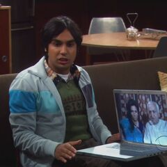 Raj talks to his parents about his dark matter research, with a camel pillow to his right.