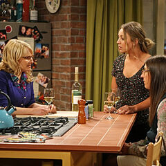 Amy and Penny listen to Bernadette's complaint on why Howard should not go up to space