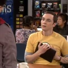 Sheldon with a shocked expression.