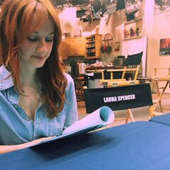 Laura Spencer with script pieces.