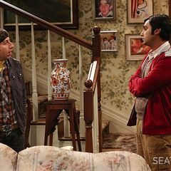 Discussing how creepy it is for Stuart to live with Mrs. Wolowitz.
