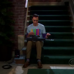 Sheldon exiled from the apartment.