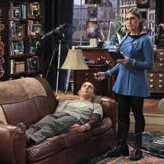 Sheldon gets Amy to wear a Star Trek medical uniform.
