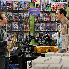Sheldon talking to Stuart at the comic book store.