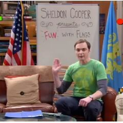 Sheldon's introduction to his show about flags.