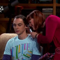 Dr. Stephanie checking out Sheldon's ears.