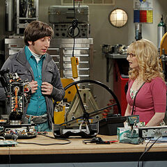 Howard and Bernadette in his lab.