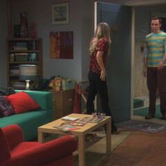 Sheldon at Penny's door.