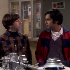 Raj and Howard in Leonard's lab.