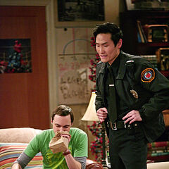Sheldon calming down after he reported the robbery.