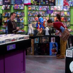 Sheldon shopping at the comic book store.