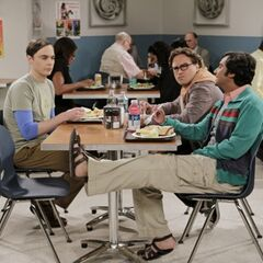 Sheldon, Leonard and Raj at the cafeteria without Howard.
