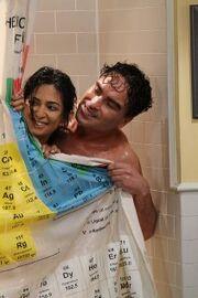 Leonard in shower with Priya