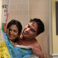 Leonard and Priya in the shower.