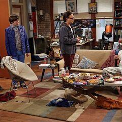 The gang checking up on Raj.