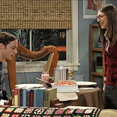 Sheldon is pleasantly surprised at what Amy has prepared for him for dinner.