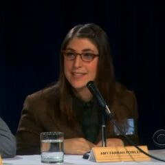 Amy sits next to Raj as a member of the panel at a science symposium.