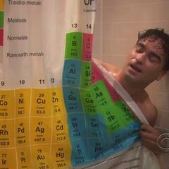 Leonard in the shower.