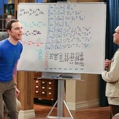 Sheldon celebrating his discovery.