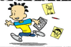 Nate running with his notebook in his hand