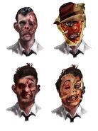BaS Splicer deformities and mask Concept Art