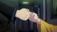 Rentaro and Enju bump fists