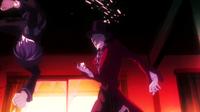 Rentaro lands a kick on Kagetane