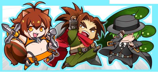 File:Bang Shishigami, Hazama, Makoto Nanaya (Clone Phantasma, Character Select Artwork).png