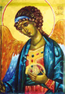 Archangel Gabriel Icon wearing sacred blue