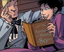 Clara reading Around the World in 80 Days