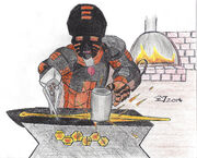 Ferron at the Forge, Colored Pencils, lower quality