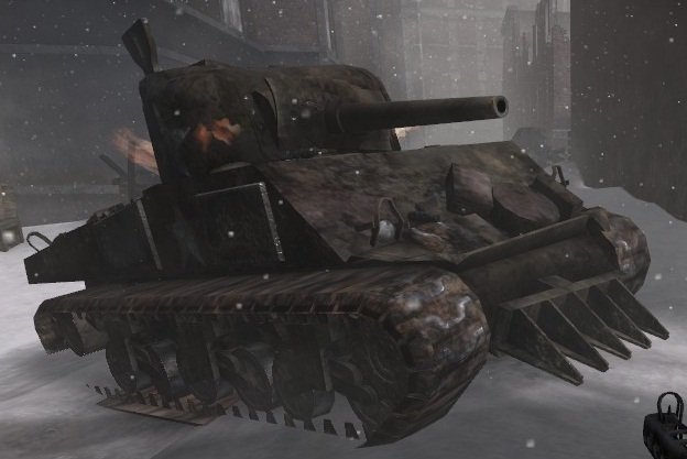 File:M4 Sherman destroyed winter CoD2.jpg
