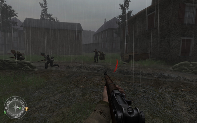 File:Clearing out enemies in basement of swastika house Approaching Hill 400 CoD2.png