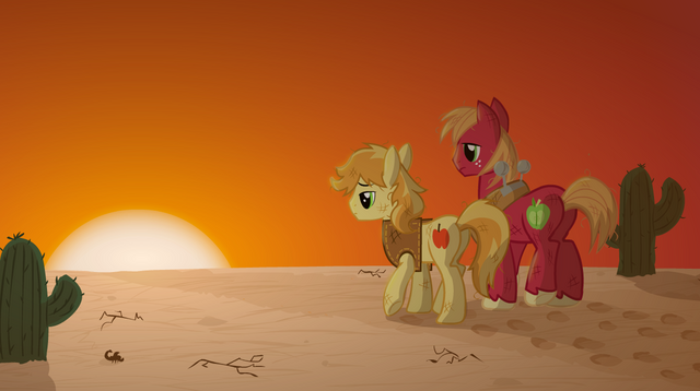 File:Braeburn Big Mac Desert Walk away for Applejack.png