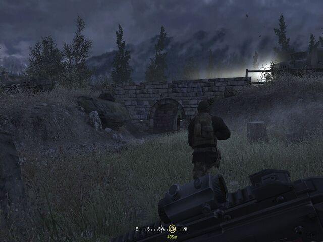 File:Hiding from enemies under bridge Hunted CoD4.jpg