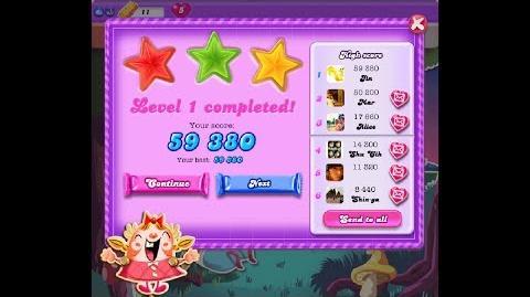 Candy Crush Saga Dreamworld Level 1 ★★★ 3 Stars