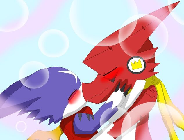 File:Gumdramon and shoutmon kissing.jpg