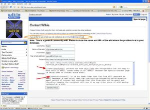 ContactWikia does not recognize wiki markup
