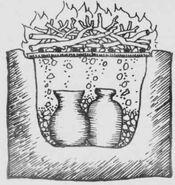 Vista en corte de un horno de pozo