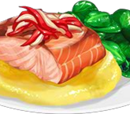 Salmon and Buttery Turnip Puree