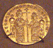 GoldSolidusLGold Coin of Byzantine Emperor Leo VI And Constantin VII