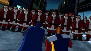 Batman and Red Tornado vs the robot Santas