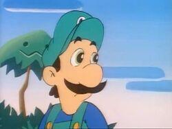 Luigi in the SMW Christmas episode